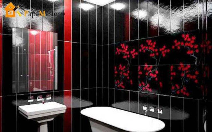 красные панели пвх для ванной