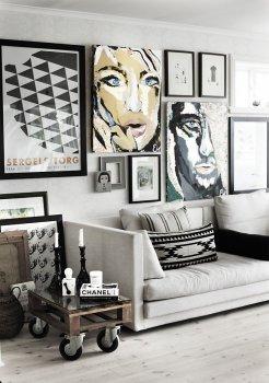 Чорно-білі і кольорові фото на стіні у вітальні