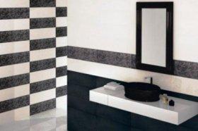 Дизайн плитки для туалету: фото чорно-білого декору