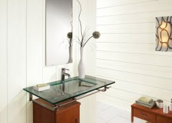 Дизайн ванної кімнати в світлих тонах, де використовувалися тільки панелі з пластика
